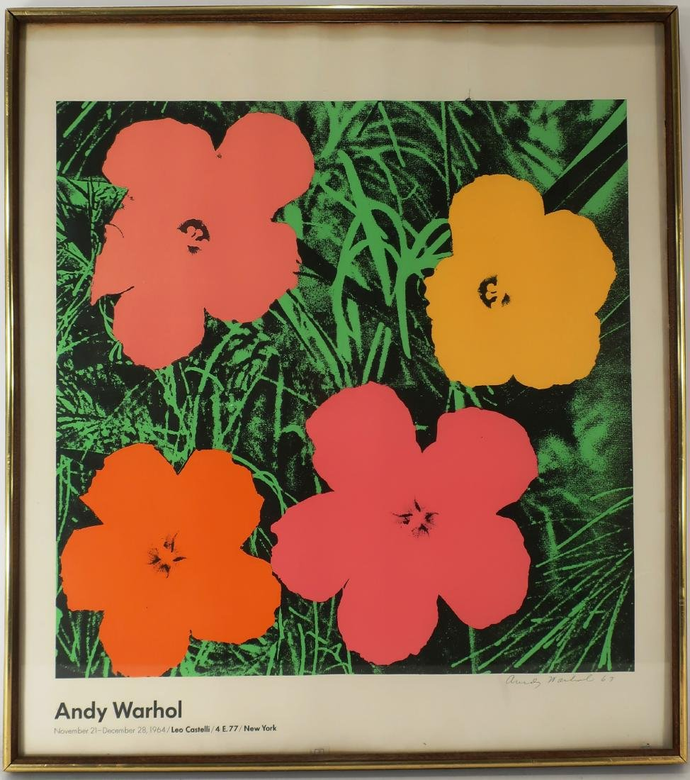 """Warhol """"Flowers"""" Hand Signed 1964 Castelli Poster"""