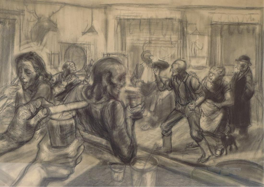 Raymond Calkins, Tavern Scene, Charcoal, 1950