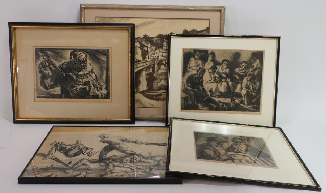 Group of 5: Drawings, Etchings & Lithograph 20th C