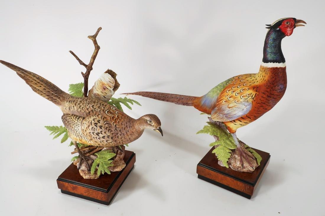 Pair Royal Worcester Porcelain Pheasants, Numbered - 2