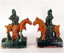 Pr of Chinese Equestrian Roof Tiles, c 1600's