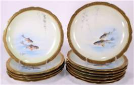 Set of 12 French Limoges Porcelain Fish Plates