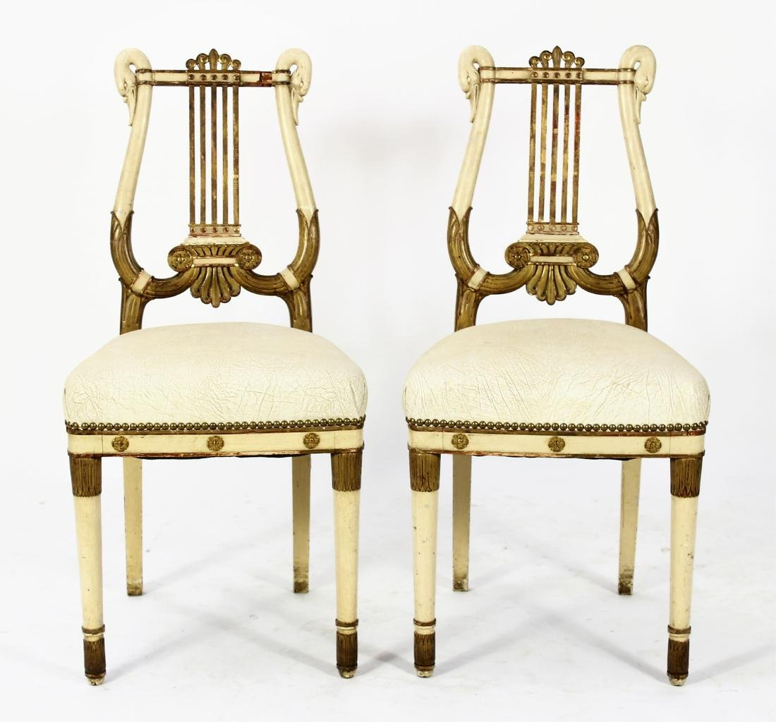 Pr. of Regency Carved Swan Side Chairs