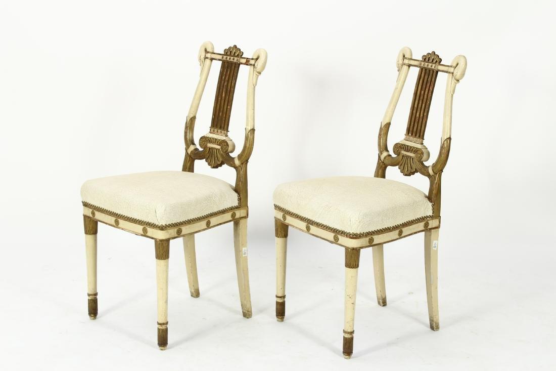 Pr. of Regency Carved Swan Side Chairs - 5