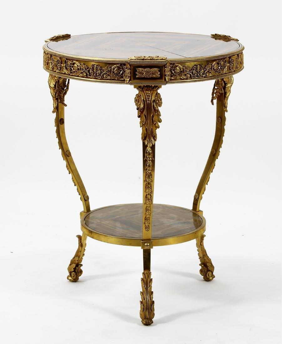 French Gilt Bronze & Tiger Eye Gueridon Side Table