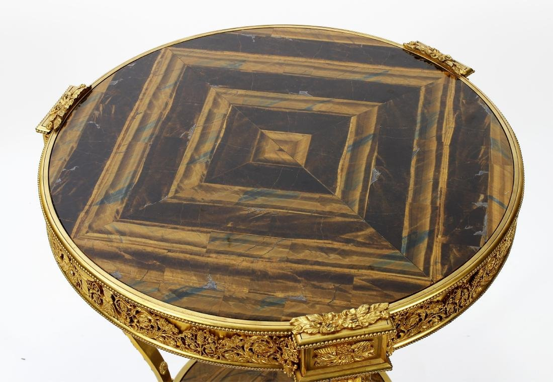 French Gilt Bronze & Tiger Eye Gueridon Side Table - 2