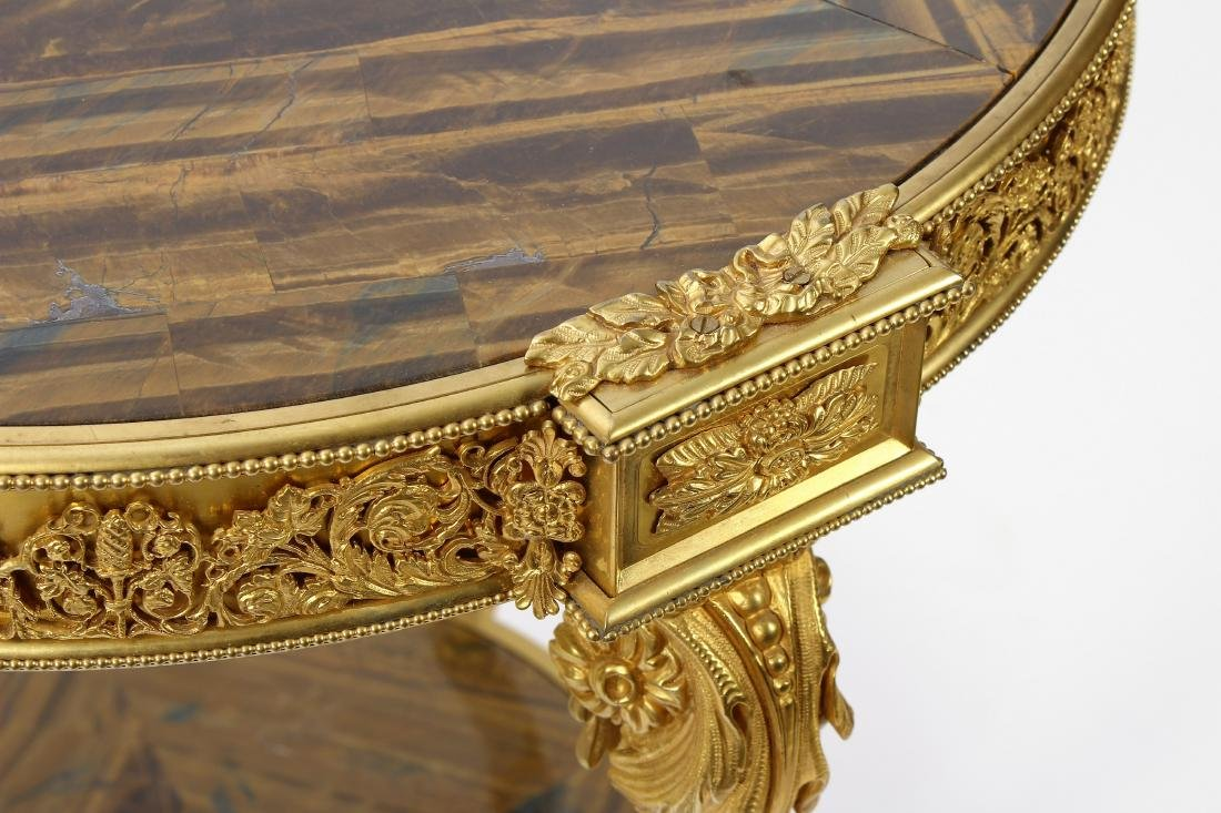 French Gilt Bronze & Tiger Eye Gueridon Side Table - 3