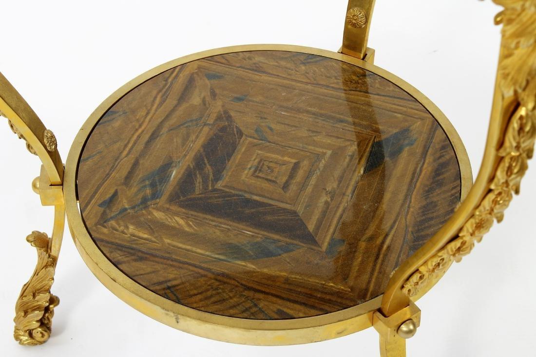 French Gilt Bronze & Tiger Eye Gueridon Side Table - 4