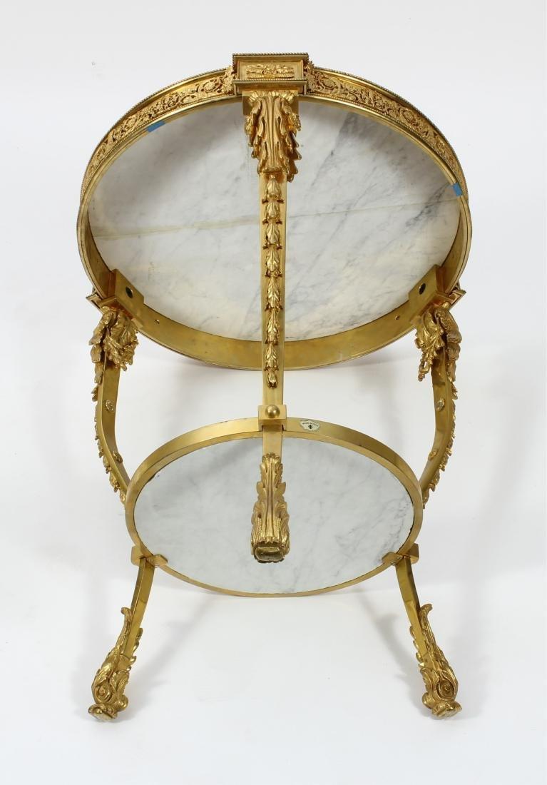 French Gilt Bronze & Tiger Eye Gueridon Side Table - 6
