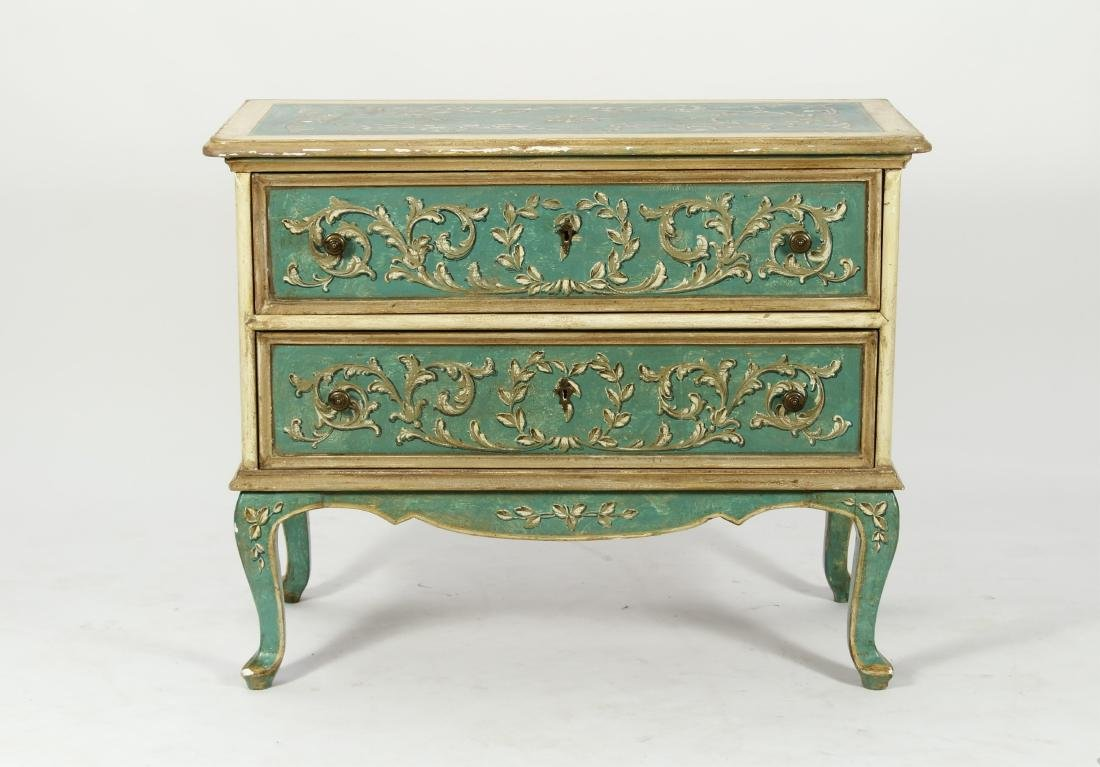 Italian Paint Decorated Baroque Commode, e. 20th