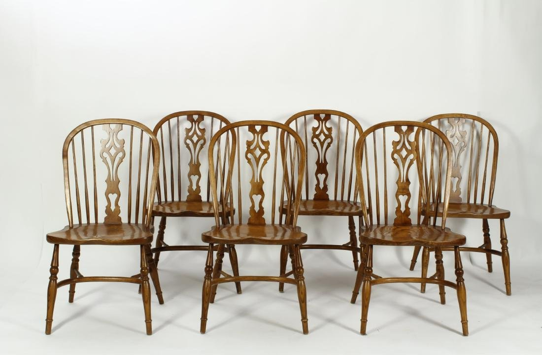 Set of 6 English Figured Oak Windsor Dining Chairs