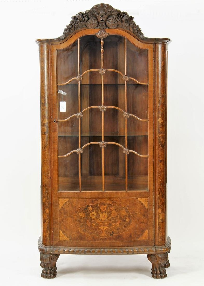 Hungarian Burled Wood Marquetry/Glass Cabinet