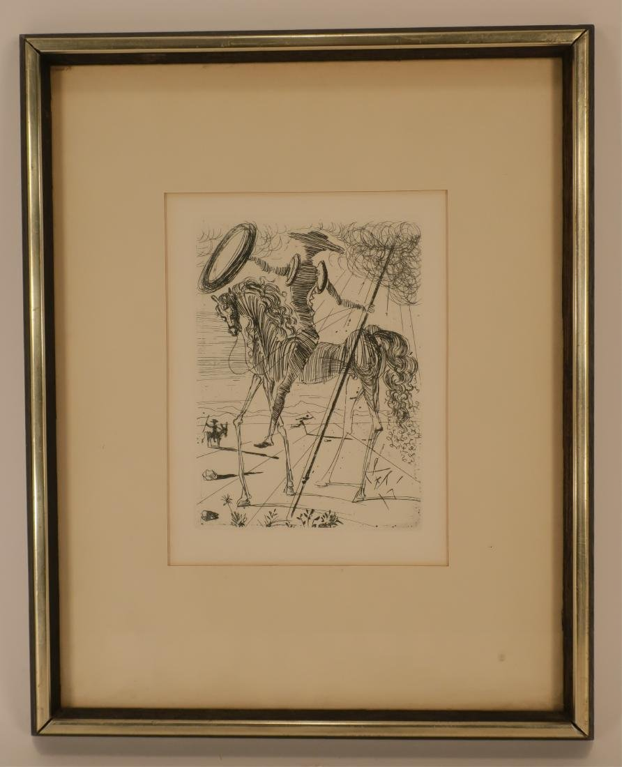 "Dali, ""Don Quixote"" etching"