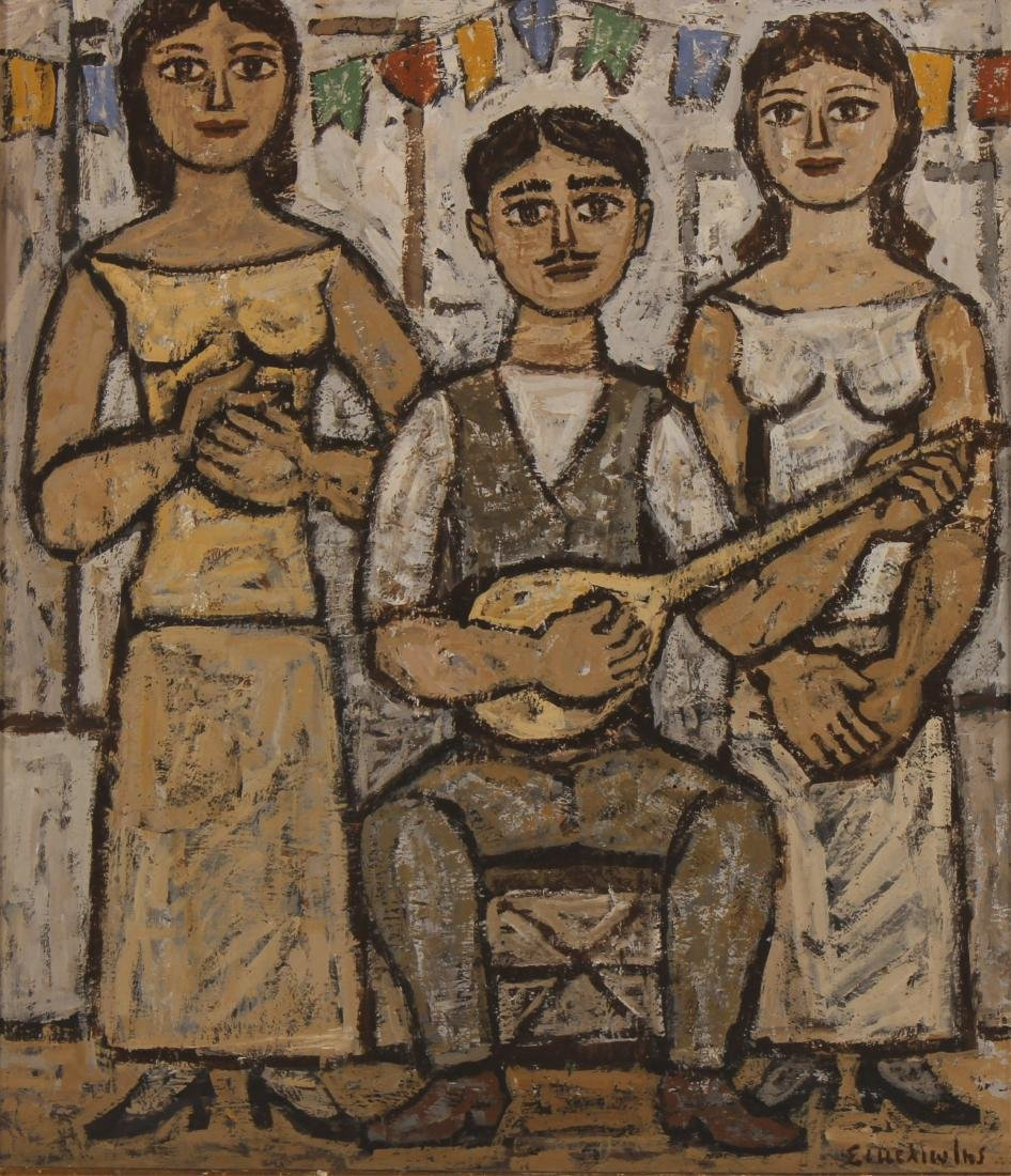 Three Musicians, Oil on Masonite, Signed Illegibly