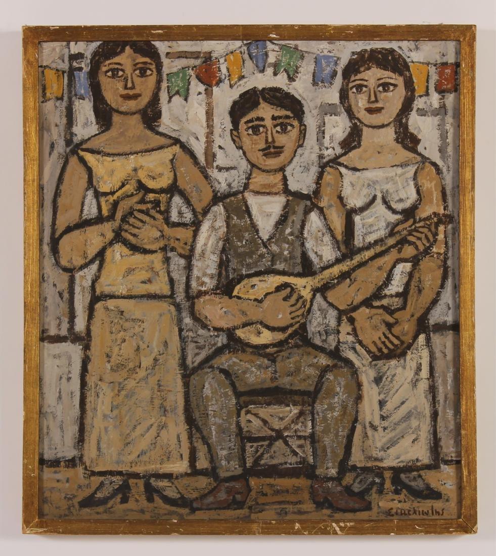 Three Musicians, Oil on Masonite, Signed Illegibly - 2