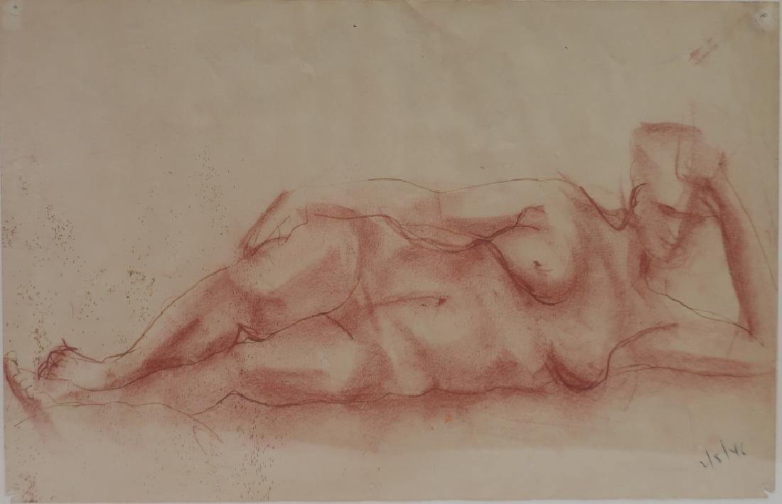 Rudy Schuller,Am., 20th C., Nude,sanguine on paper