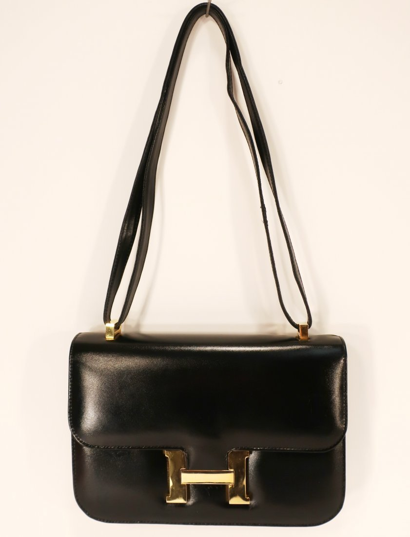 Black Hermes Constance Handbag