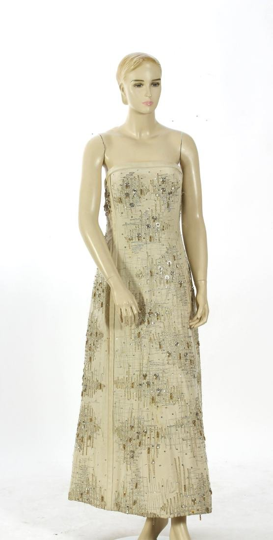 Mid-Century Embroidered and Beaded Gown