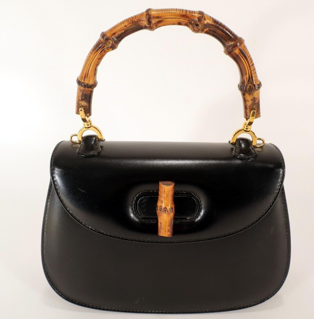 Black Gucci Leather Purse with Bamboo Handle