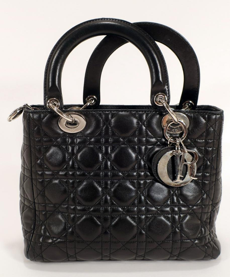 Black Cannage Quilted Christian Dior Handbag