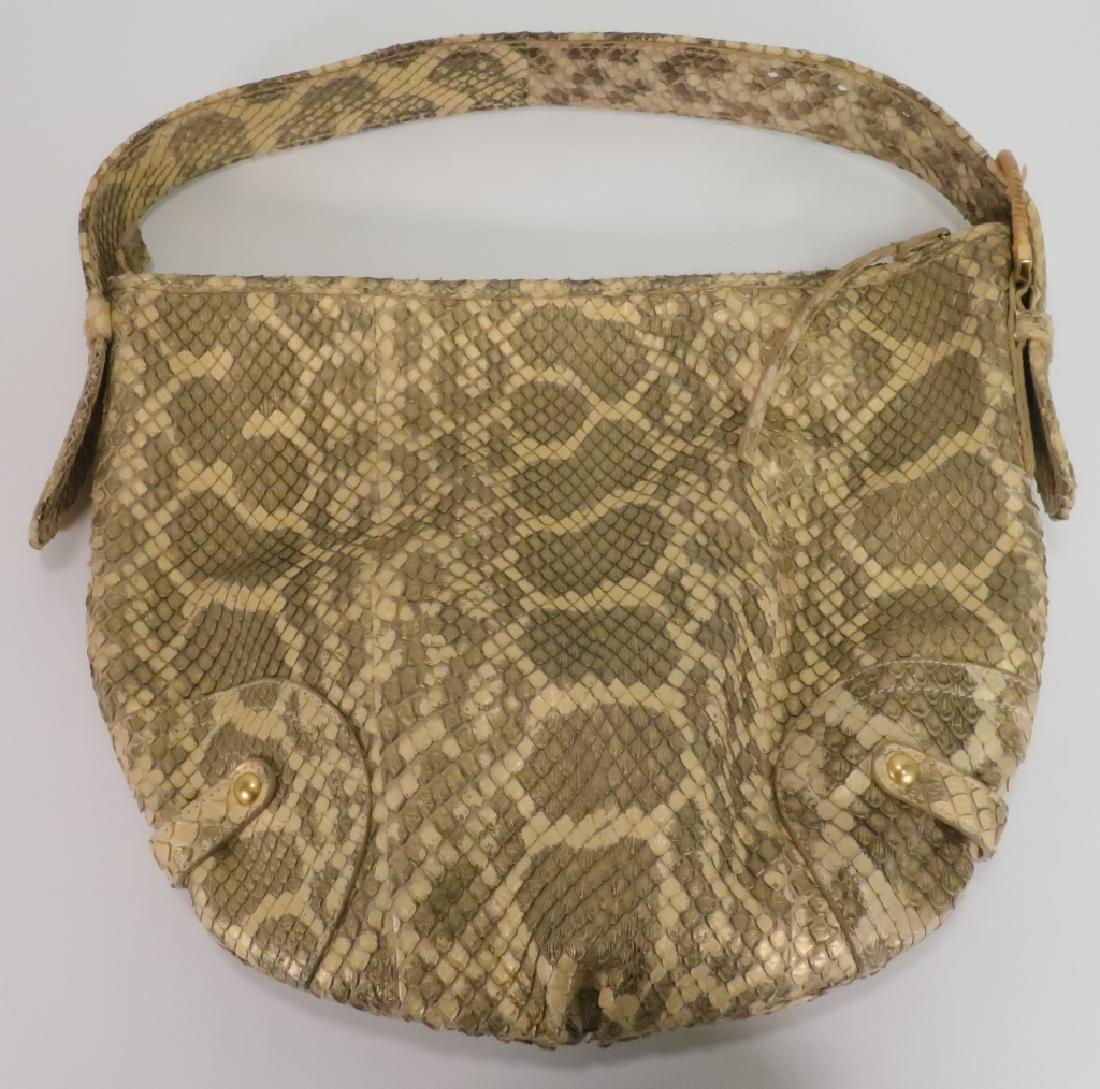 Ferragamo Metallic Gold Python Tote Bag