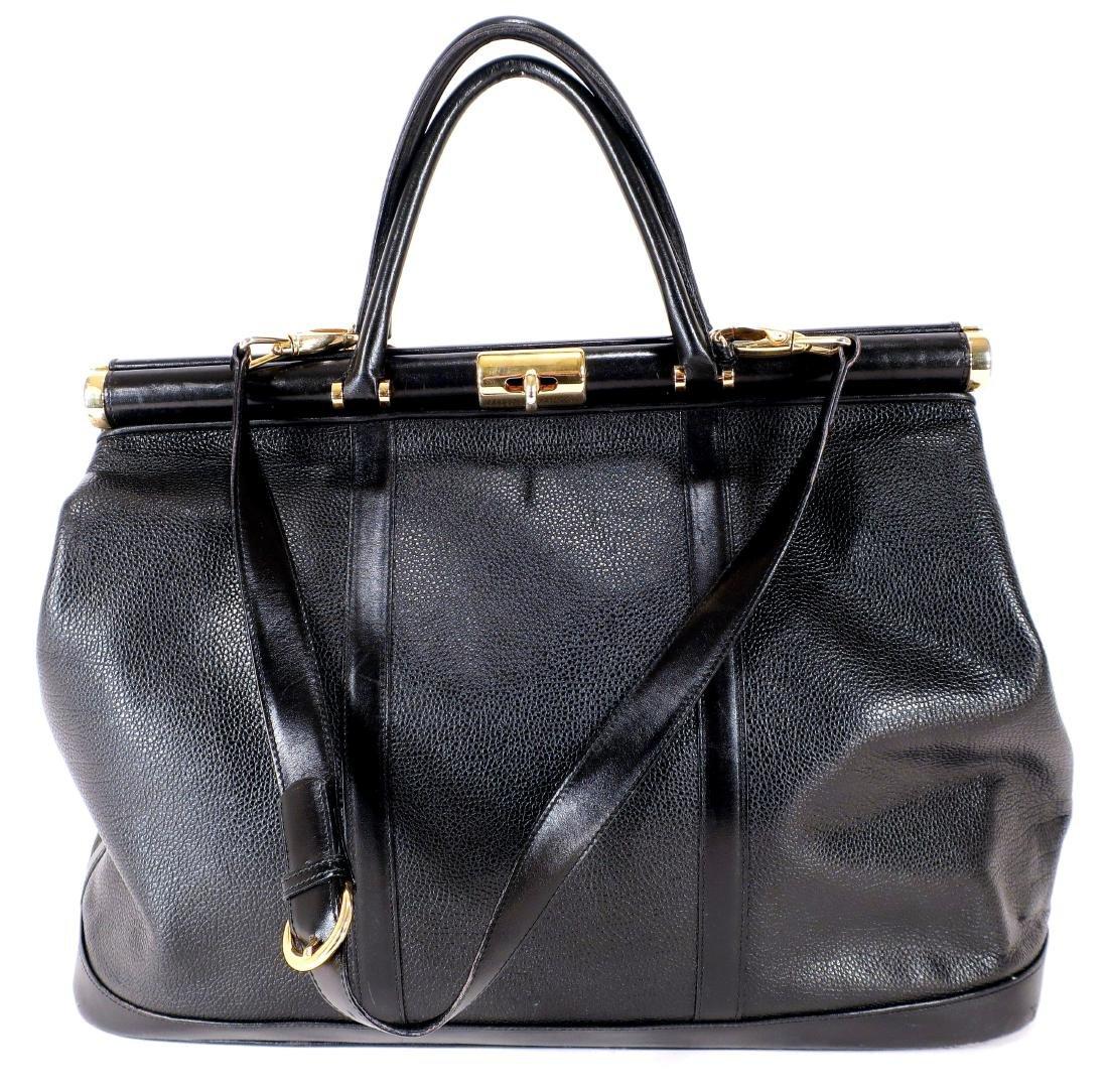 Suarez Black Leather Overnight Bag