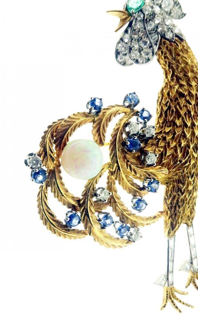Gold, Diamond, Emerald, Sapphire & Opal Brooch - 2