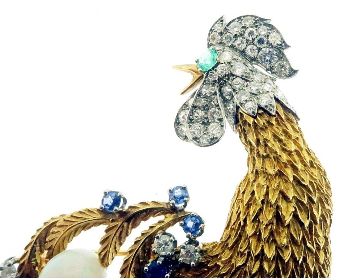 Gold, Diamond, Emerald, Sapphire & Opal Brooch - 4