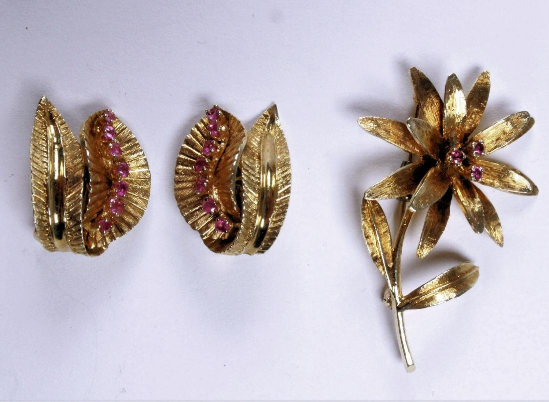 14K Gold and Ruby Pin and Earrings