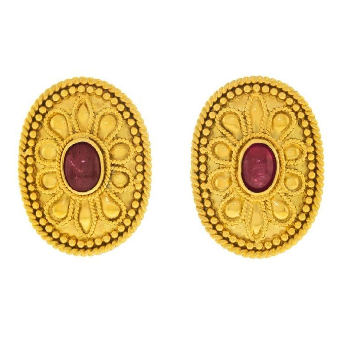 Archaic Motif 18k and Ruby Earrings