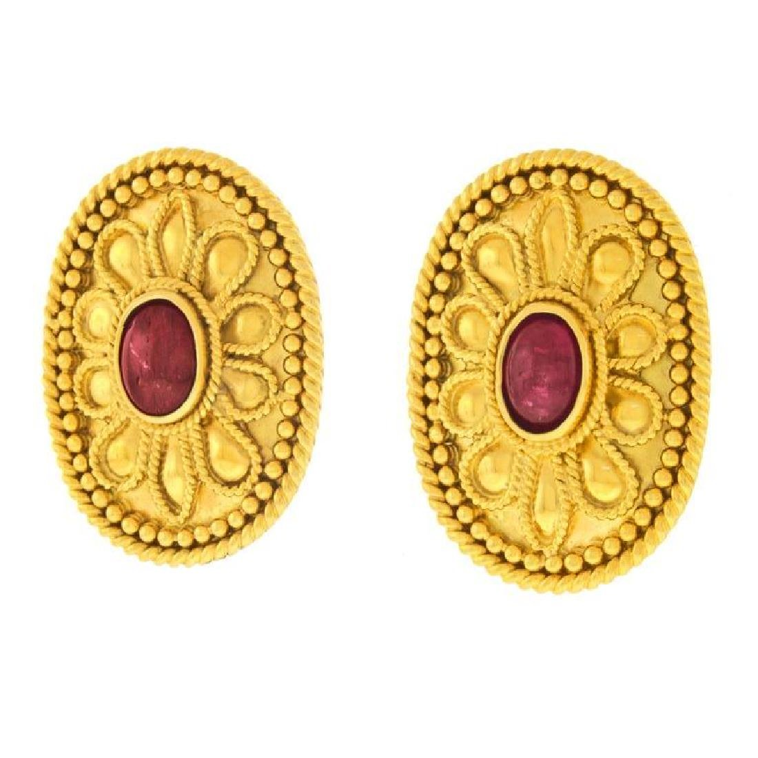 Archaic Motif 18k and Ruby Earrings - 2