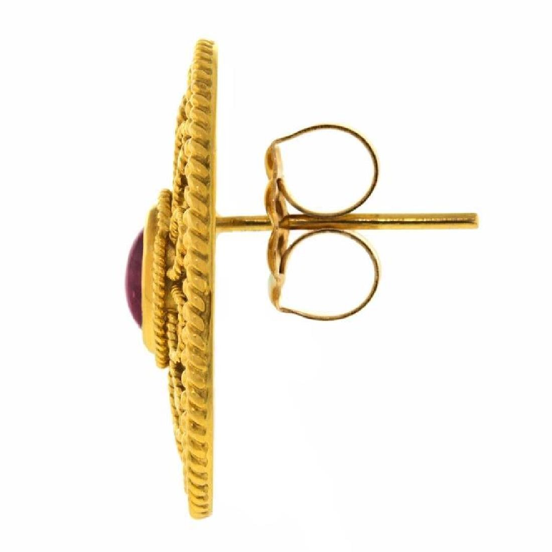 Archaic Motif 18k and Ruby Earrings - 3