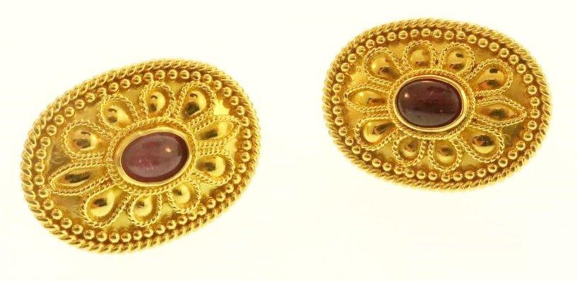 Archaic Motif 18k and Ruby Earrings - 6