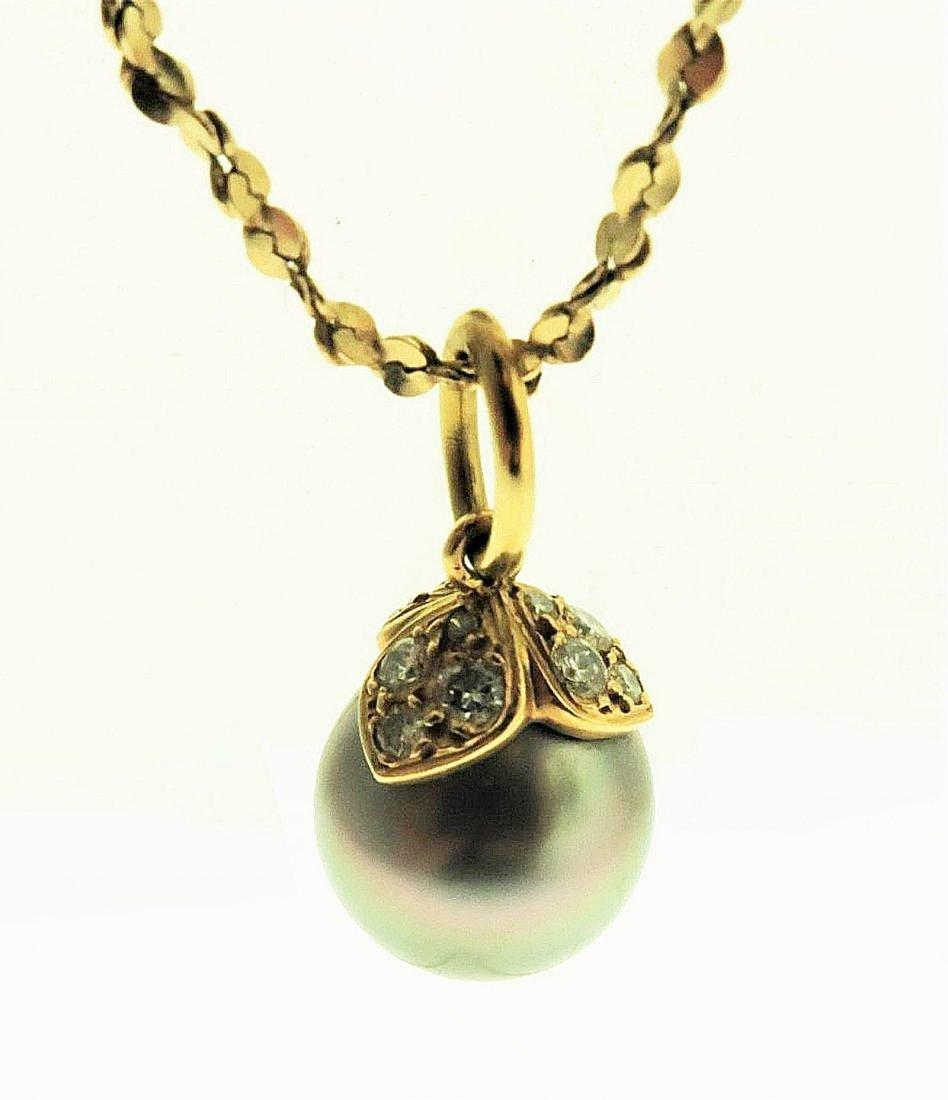 Gray Tahitian Pearl & Diamond Pendant on 14k Chain