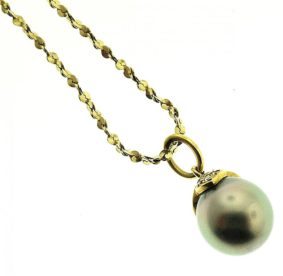 Gray Tahitian Pearl & Diamond Pendant on 14k Chain - 2