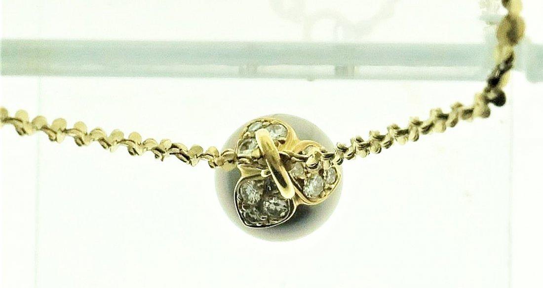 Gray Tahitian Pearl & Diamond Pendant on 14k Chain - 3