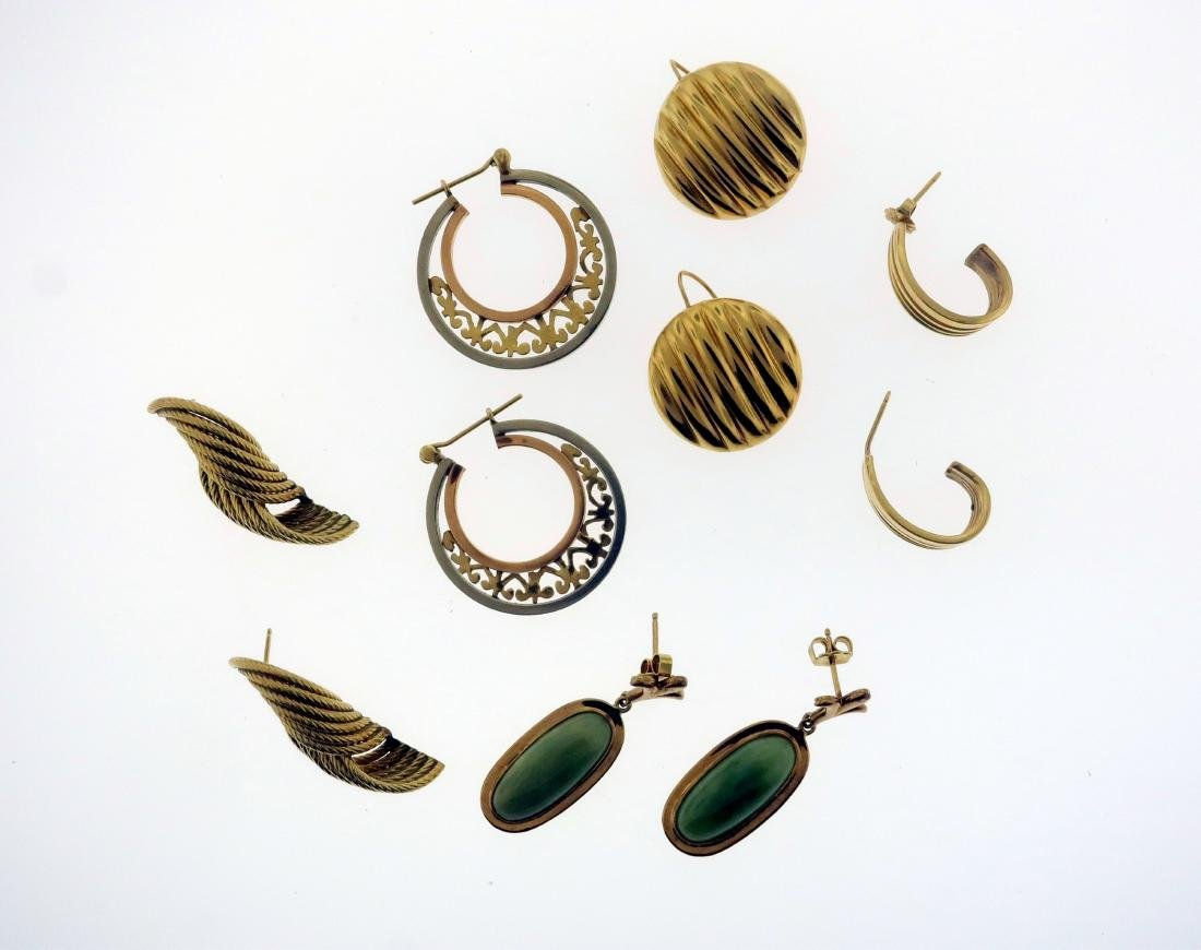 5 Pairs 14K Gold Earrings