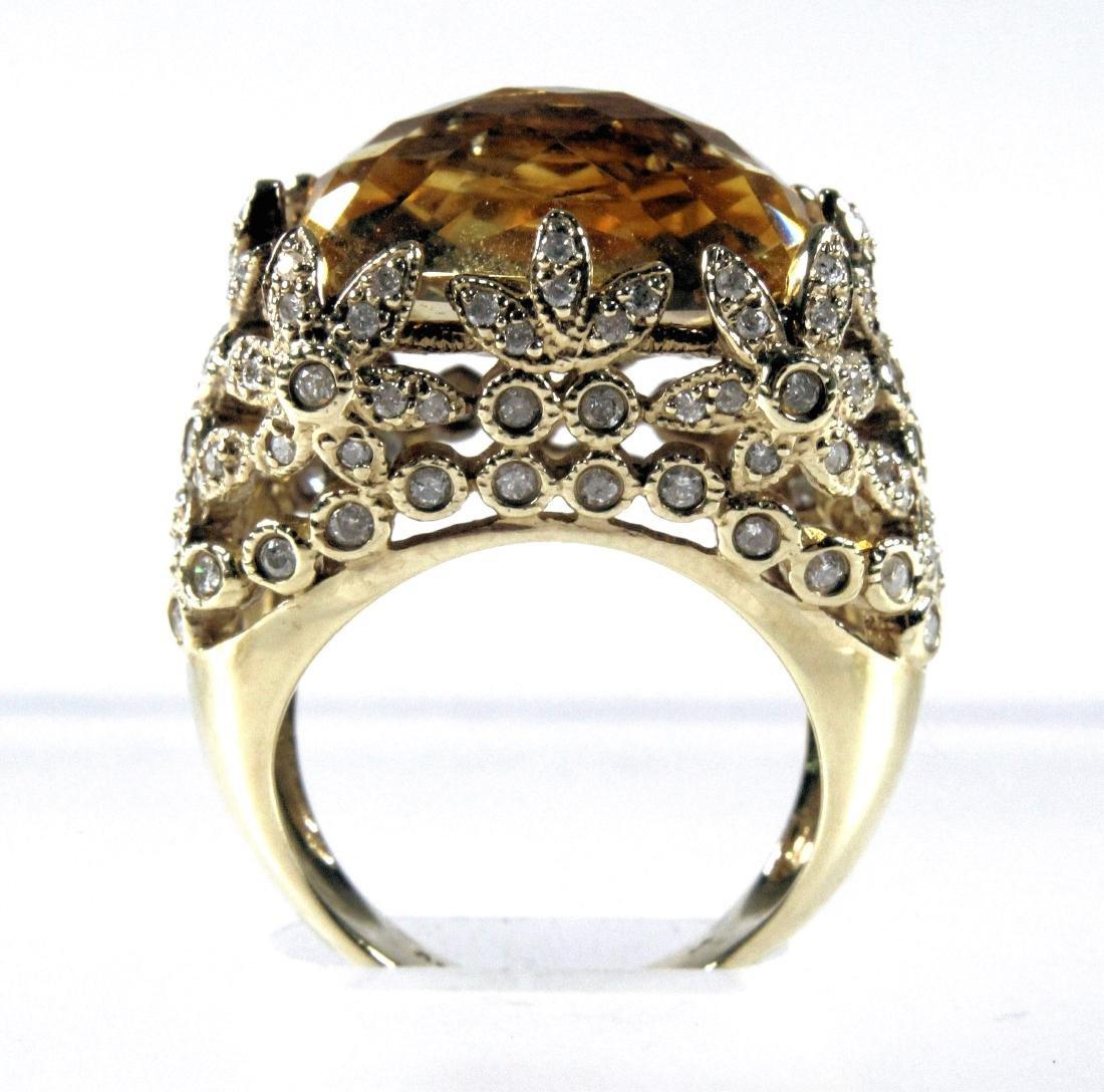 14k, Citrine, and Diamond Ring