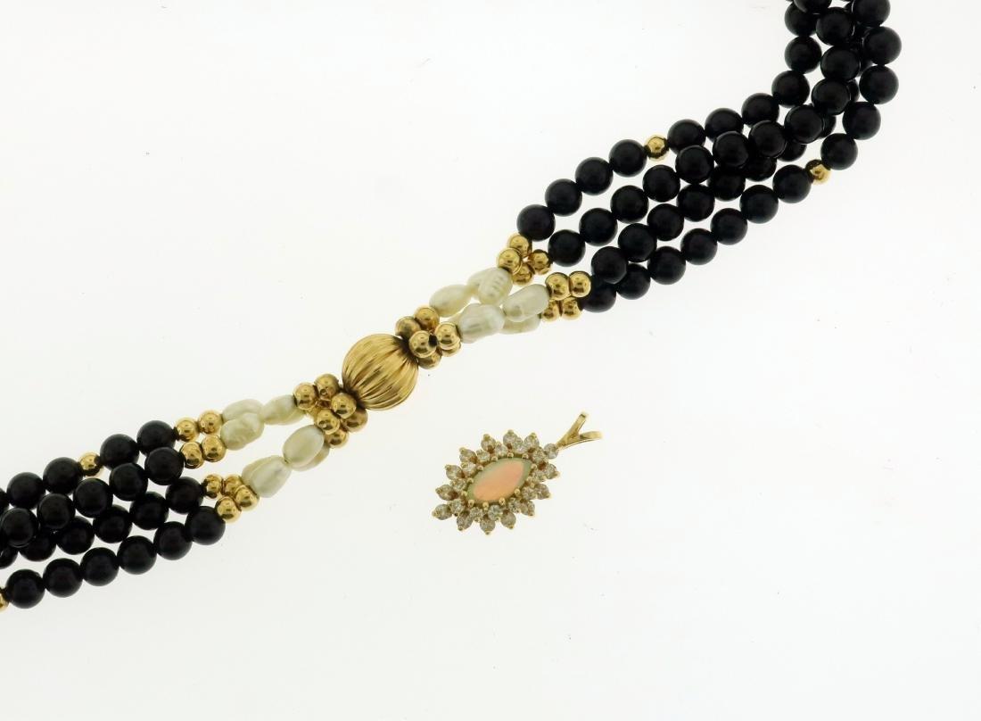 14K Pearl & Jet Necklace + Opal & Diamond Pendant