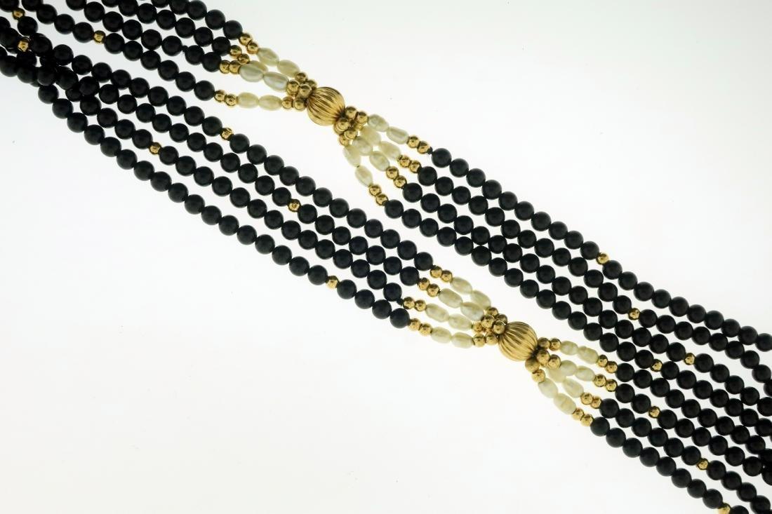 14K Pearl & Jet Necklace + Opal & Diamond Pendant - 2