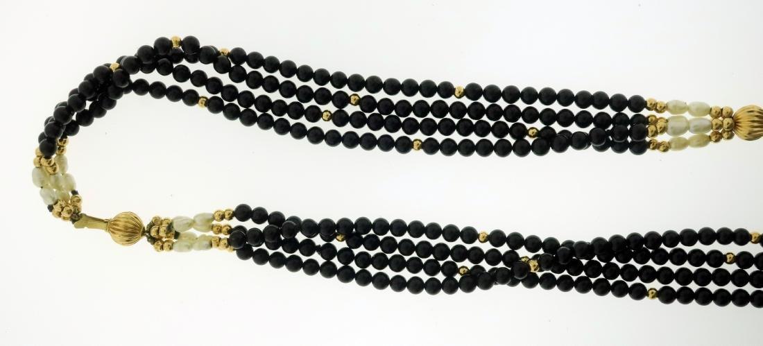 14K Pearl & Jet Necklace + Opal & Diamond Pendant - 3
