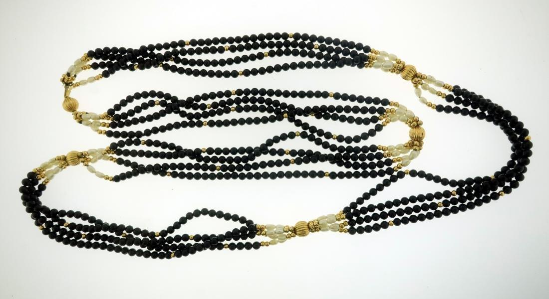 14K Pearl & Jet Necklace + Opal & Diamond Pendant - 4