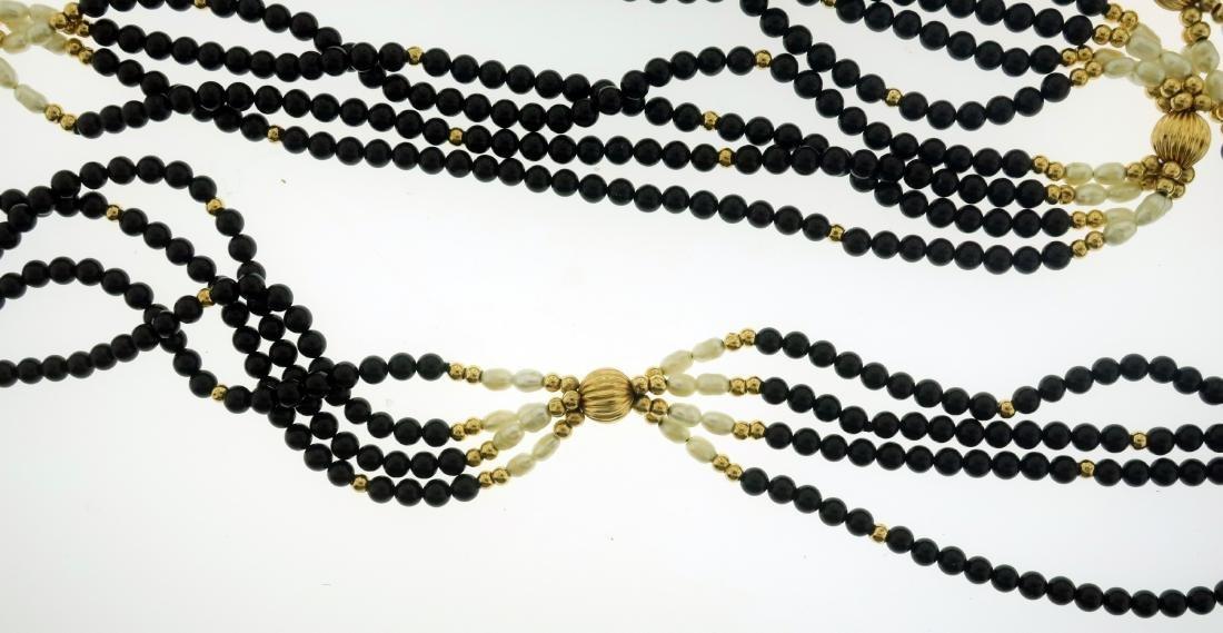 14K Pearl & Jet Necklace + Opal & Diamond Pendant - 5