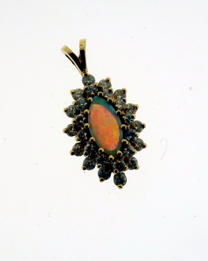 14K Pearl & Jet Necklace + Opal & Diamond Pendant - 6