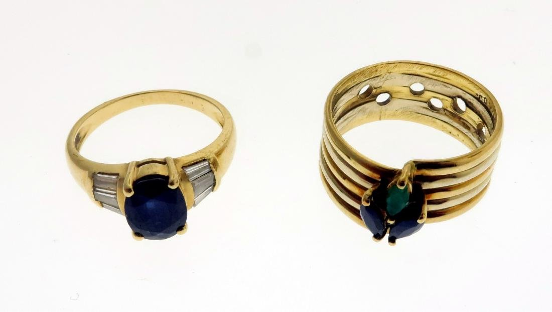 Two 14k Rings with Sapphires, Diamonds, & Emerald