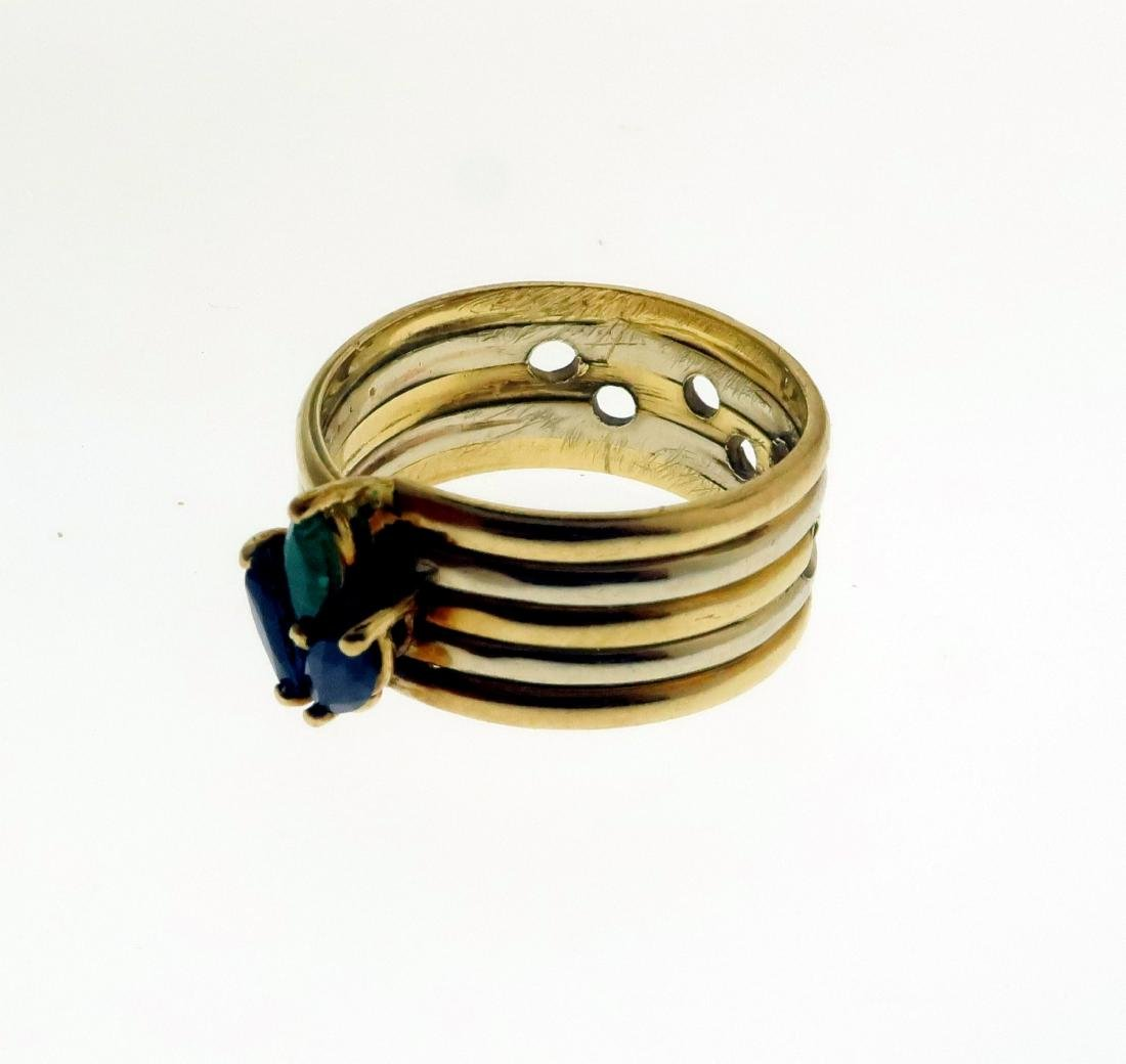 Two 14k Rings with Sapphires, Diamonds, & Emerald - 2