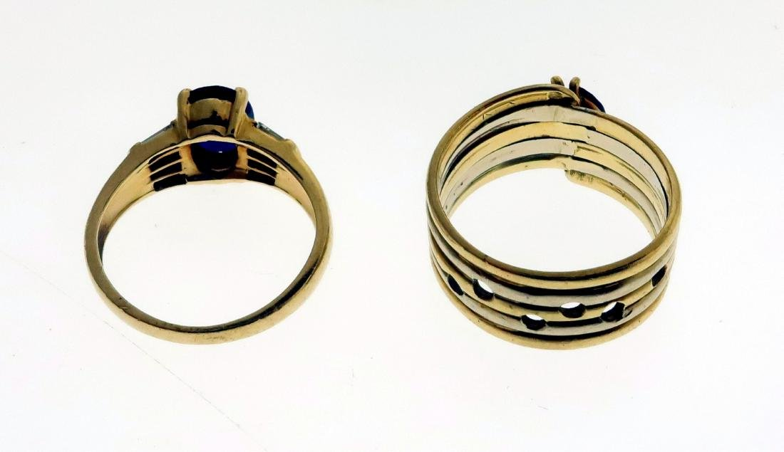 Two 14k Rings with Sapphires, Diamonds, & Emerald - 4