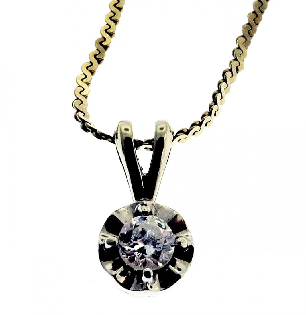 Diamond Pendant on 14k Chain - 2