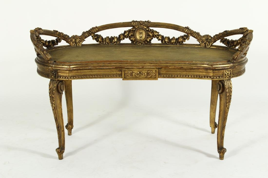 Louis XV Style Gilt Wood Carved Bench - 2
