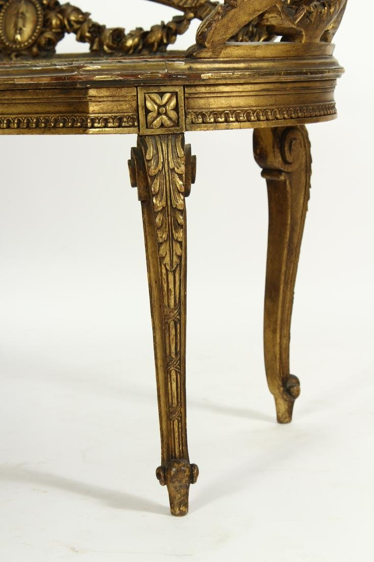 Louis XV Style Gilt Wood Carved Bench - 5